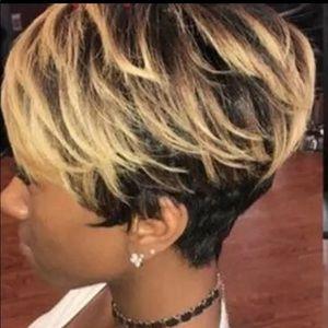 Short Pixie Cut Golden Blonde w/ black Base Wig